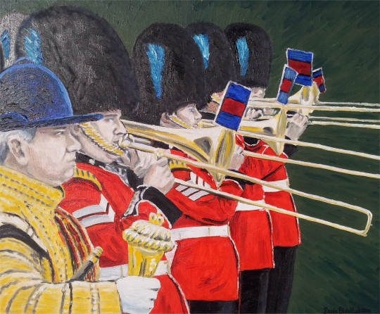 Irish Guards blowing their own trumpets