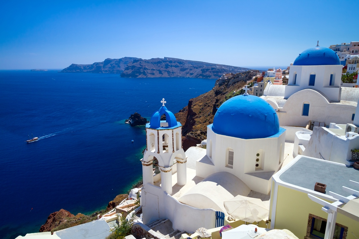 blue churches santorini destination holiday and travel show
