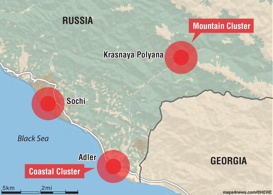 map of sochi russia winter olympics 2014