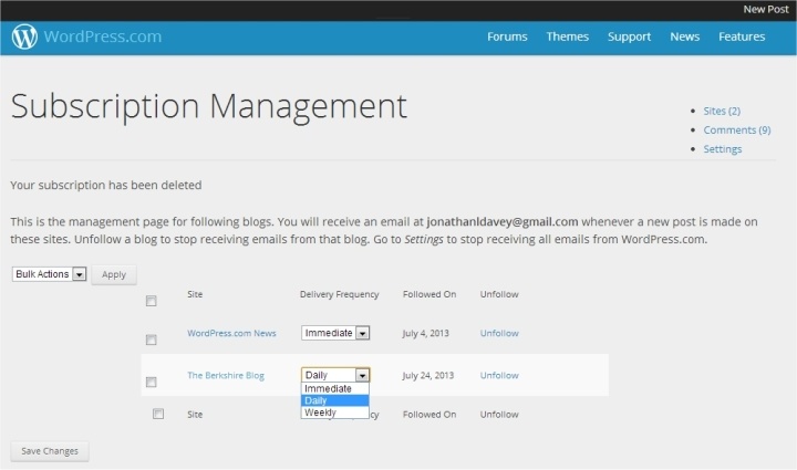 wordpress manage subscription choice