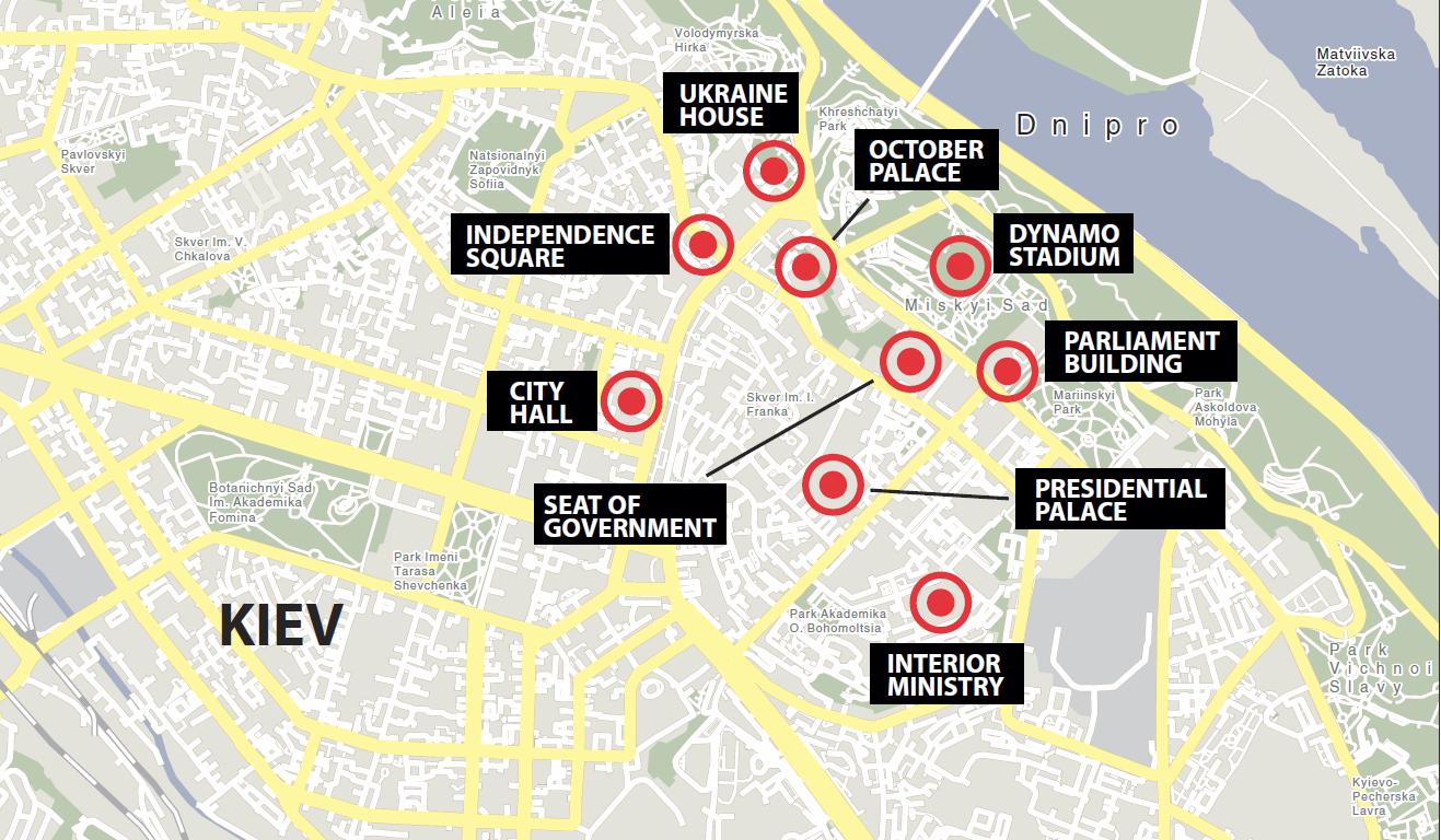 map of kiev ukraine initial troubles