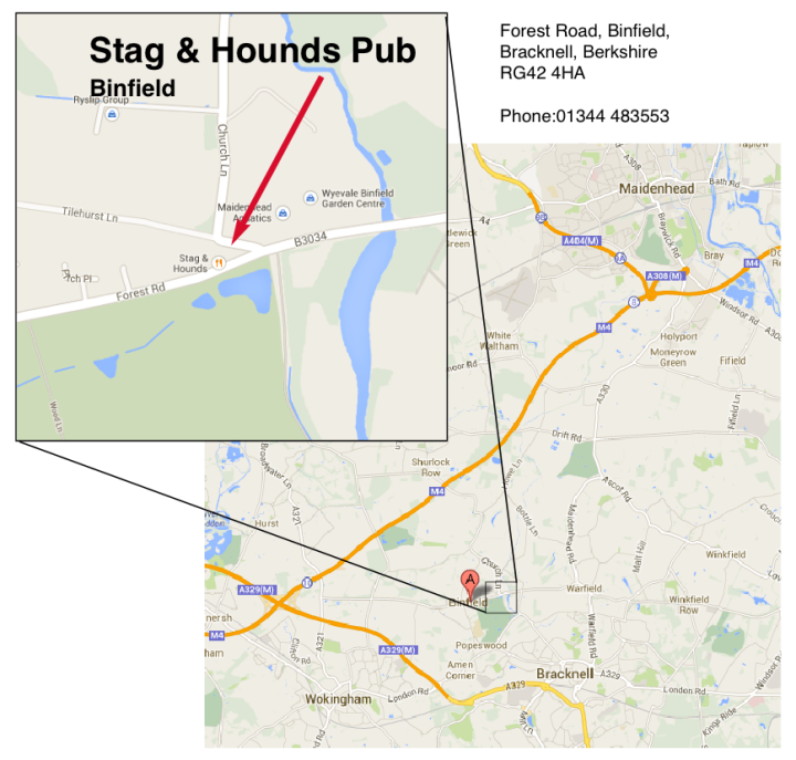 stag and hounds binfield map