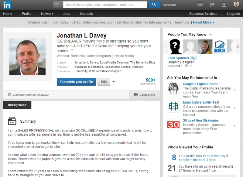 jonathan l davey linkedin profile april14