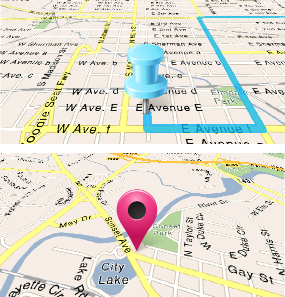 3d blue pin on map