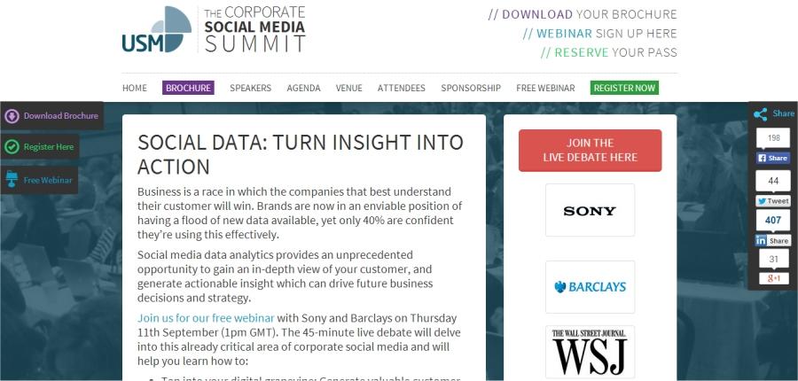 corporate social media summit social data webinar