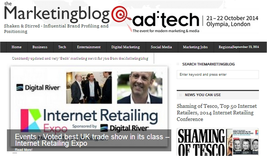the marketing blog front page