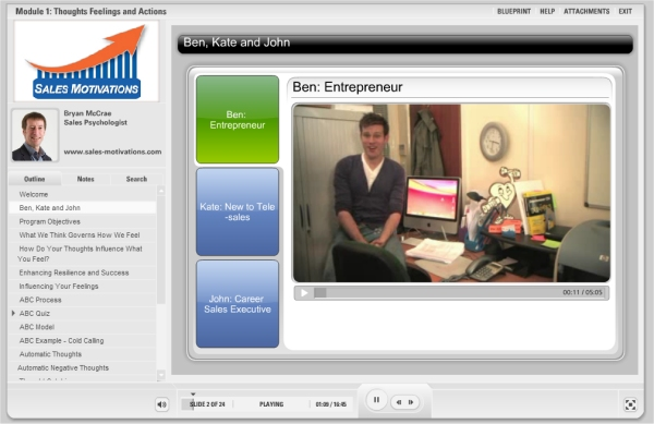 sales-motivations video footage of characters ben entrepreneur