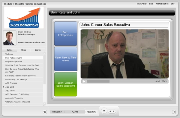 sales-motivations video footage of characters john career sales executive