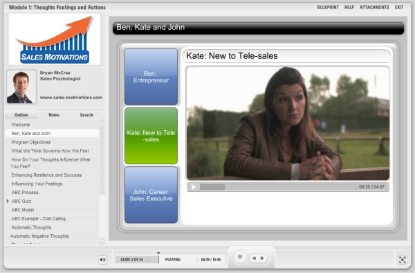 sales-motivations video footage of characters kate new to telesales