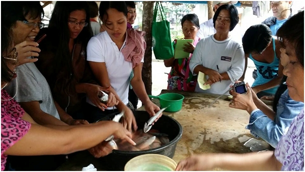 Albuera Empowered Women Association RCC catch of the day being prepared for smoking