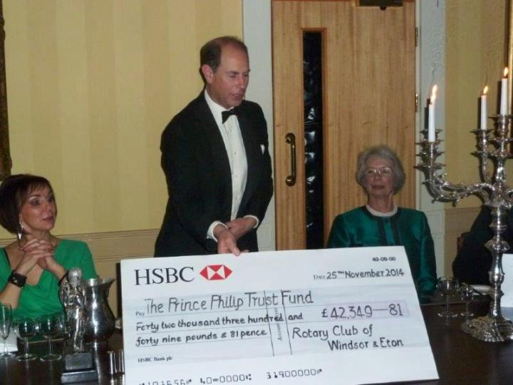 rotary club windsor and eton presentation dinner prince edward cheque