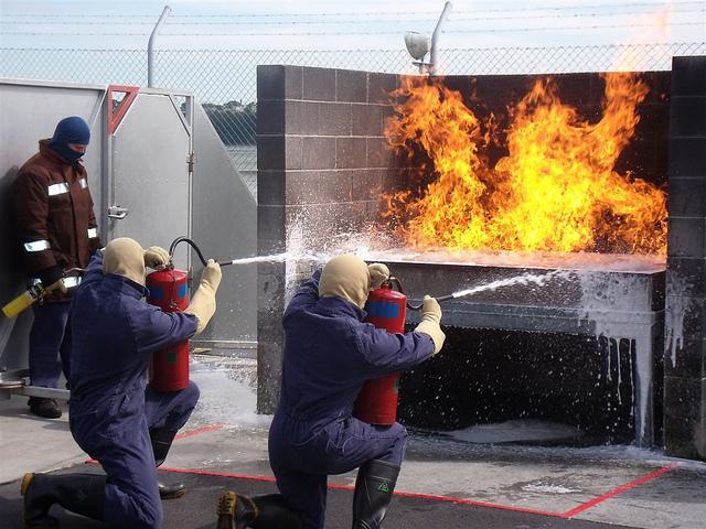 firemen putting out a blaze