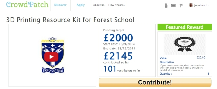 forest school crowd funding 3d printer