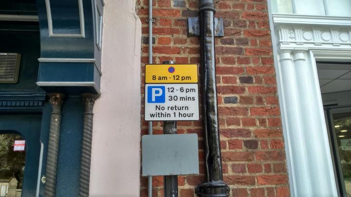 parking outside bank