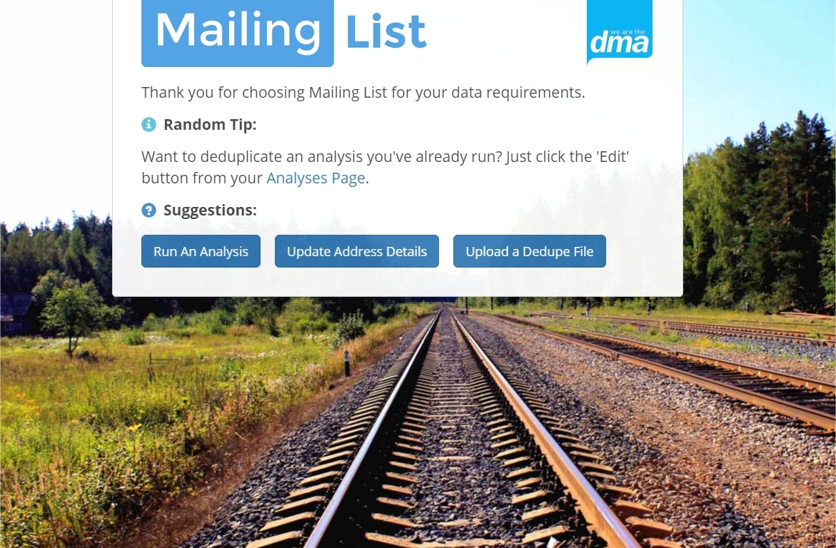 mailing list front page dma